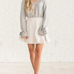 NWOT tan striped ruffle peplum fit & flare skirt